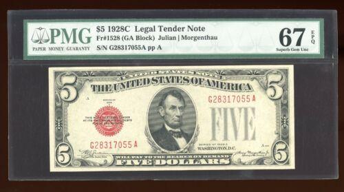 DBR 1928-C $5 Legal Superb Gem Fr. 1528 GA Block PMG 67 EPQ Serial G28317055A