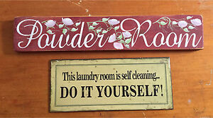 """Shabby Chic """"Powder Room"""" sign & laundry room sign"""