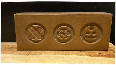 ANTIQUE KASHIGATA HAND CARVED JAPANESE WOODEN TRIPLE CANDY MOLD