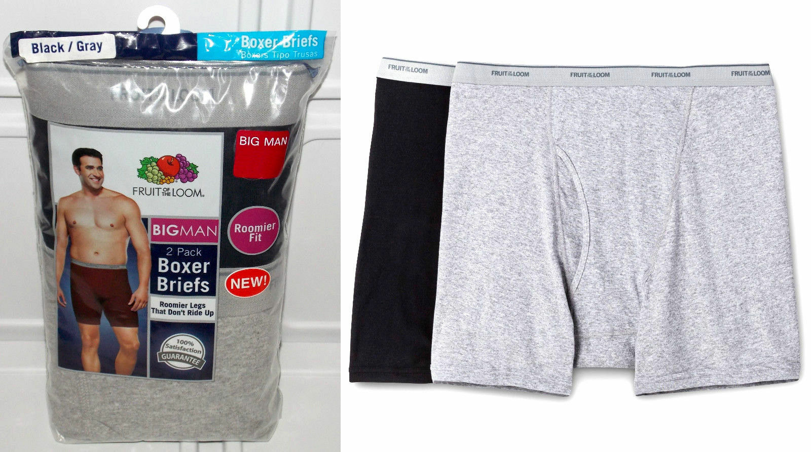 Fruit of the Loom Mens Big & Tall Man 2PK Boxer Briefs Under