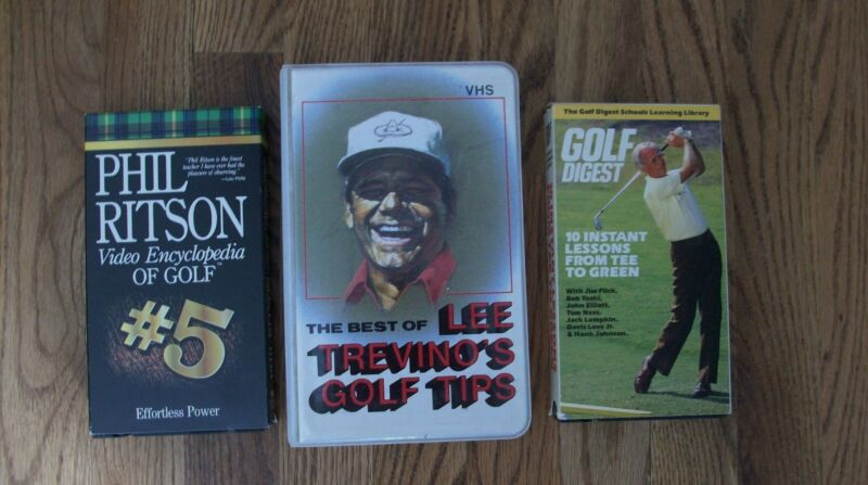 3 VHS Golf Tapes Trevino Tips Golf Digest Tee To Green Ritson Effortless Power