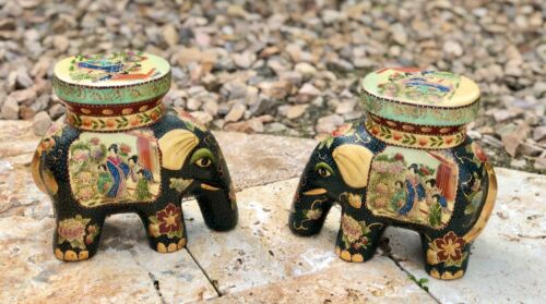 Pair of Vintage Royal Satsuma Japanese Porcelain Elephant Stool Plant Stands
