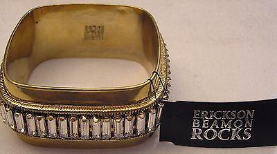(Swarovski Baguette Rhinestone Brass Bangle Bracelet Signed Erickson Beamon Rock)