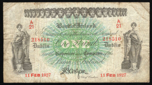 Bank of Ireland, One Pound, dated 11 Feb 1927. All Ireland issue. About Fine