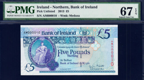 Northern Ireland 5 Pounds 2013 P-NEW LOW Serial 000010 Superb GEM UNC PMG 67 EPQ