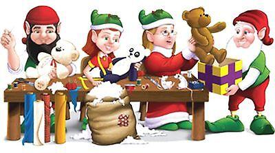 5ft Santa Elf Workshop Wall Mural Holiday Christmas Scene Setter Photo Backdrop - Elf Santa Scene