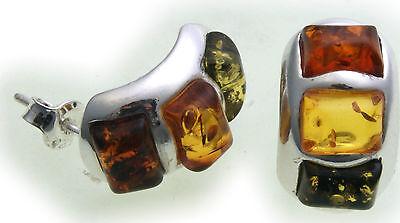 Damen Ohrringe Stecker Bernstein echt Silber 925 Ohrstecker Sterlingsilber AB8 (Ab Stein Ohrringe)