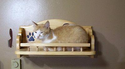Cat bed / shelf  combo set 1 wall 2 corner shelves Hand crafted Pine wood