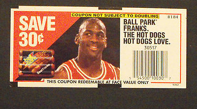 1993 Michael Jordan Chicago Bulls Basketball Ball Park Franks Hot Dogs Coupon