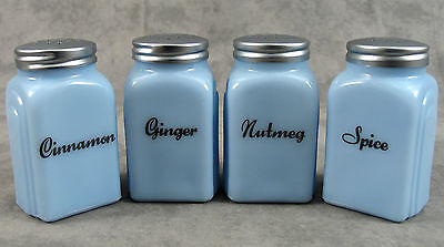 DELPHITE BLUE GLASS 4 PC ARCH SPICE JAR SHAKER SET Cinnamon Ginger Nutmeg Spice Spice Jar-shaker