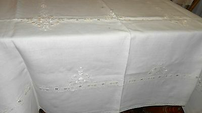 Antique English Irish Linen Whitework Hand Embroidered Ecru Tablecloth 70