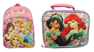 Disney Princess Backpack With Lunch Bag Rapunzel Ariel Cinderella Bell Jasmine