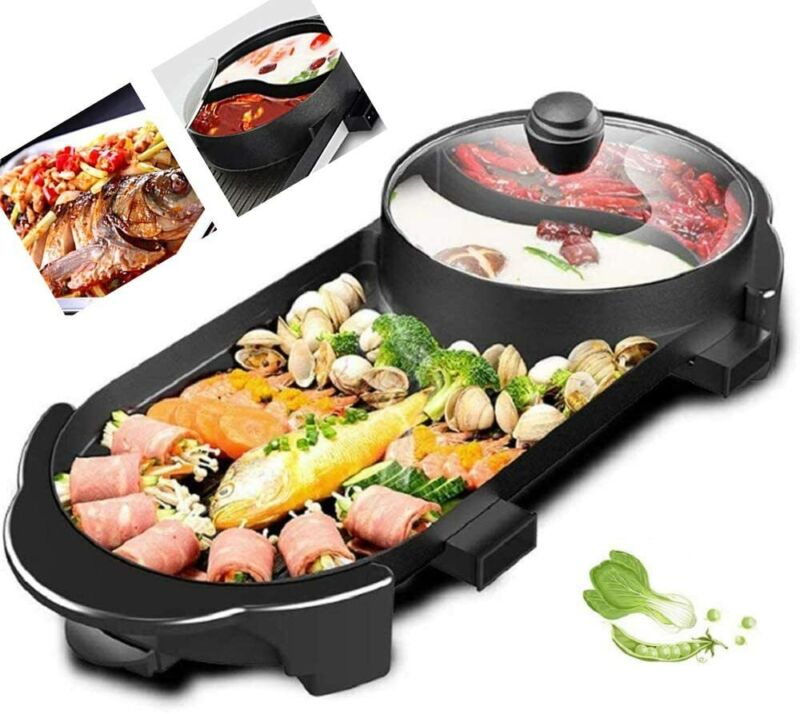 US Electric 2 In 1 Hot Pot Barbecue Grill Non-Stick Teppanya
