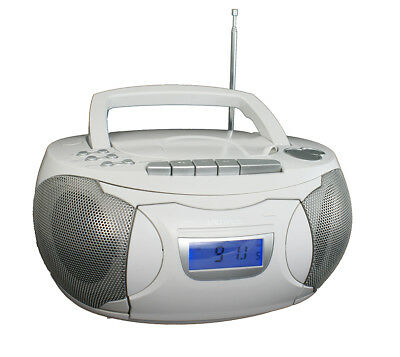 Kassettenrecorder Weiss CD Player Soundmaschine Boombox Sleeptimer Denver TCP39 ()