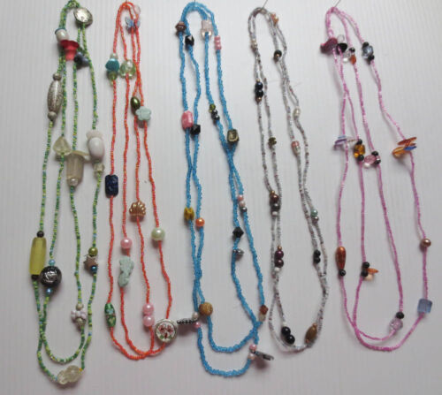 """LOT OF 5 GLASS WOOD METAL PLASTIC ASSORTED BEAD CONTINUOUS NECKLACES 52""""-54"""" L51"""