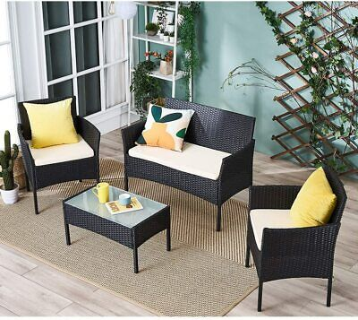 Garden Furniture - 4 Pcs Rattan Garden Furniture Set Chair Sofa Table Outdoor Patio Conservatory