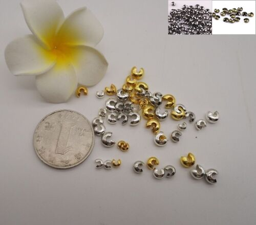 Knot Cover Crimp Beads Silver Gold Plated End Jewelry Making 3 4 or 5mm