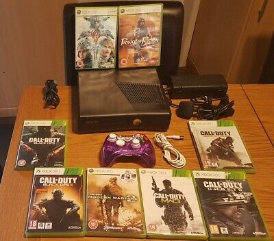 Microsoft Xbox 360 Slim  Black, 4gb Console Bundle  8 Games call of duty Candy