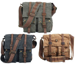 Men-Women-Vintage-Canvas-leather-shoulder-Messenger-School-Bag-Khaki-Black-19B1