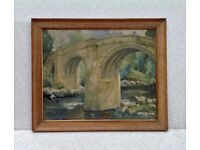 DEVILS BRIDGE KIRKBY LONSDALE KENDAL CUMBRIA PAINTING SIGNED AND DATED 1934