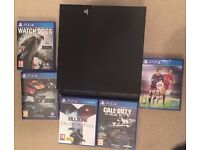 Playstation 4 Black 500gb console and 5 games