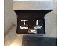 Hugo Boss polished silver cuff links new in box with tag - perfect Valentines gift