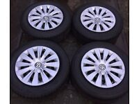 """15"""" Genuine VW Golf MK7 Steel Wheels Trims & Tyres 195/65R15 5x112 Fits MK5 MK6 Passat Touran Plus"""