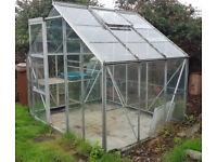 8 feet x 6 feet glass/aluminium greenhouse, slabs, waterbutt