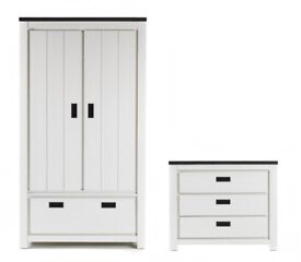 Brand New 2 Piece Turin 2 Door Wardrobe with Drawers + Chest of 3 Drawers Bedroom Set - White