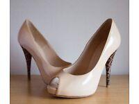 Genuine Fendi Nude Patent Leather Peep Toe Platform Pumps (Size 4 UK)