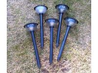 5 x SOLAR LIGHTS - ground or wall mounted for garden / paths / driveways etc
