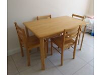 4ft Wood table & 4 chairs