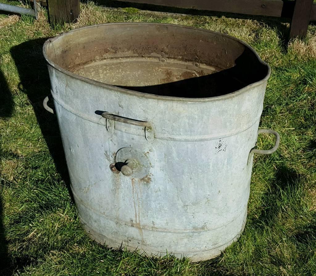 Large vintage metal water carrier