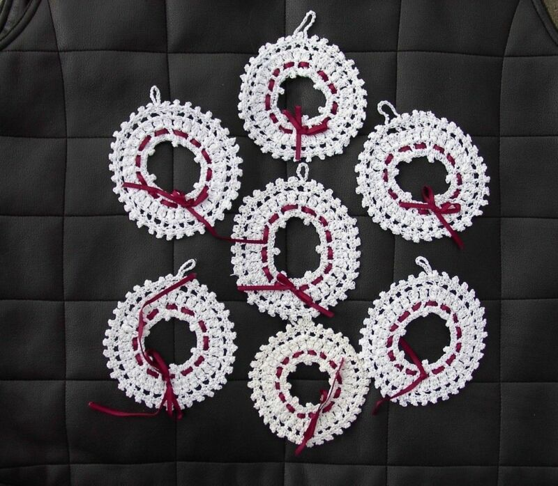 Crochet Wreath Lot 7 Christmas Ornaments Handmade White with Red Ribbon 4""