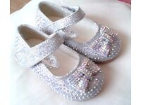 Girls Silver Shoes Kelsi. Size 5.