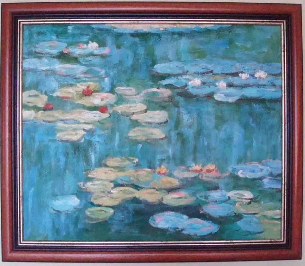 ****Oil painting Hand painting reproduction of Water Lily of Monet - mahogany frame****