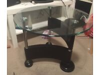 Coffee table or side table, glass, chrome and black