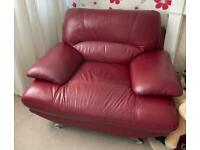 Burgundy / Red leather sofa and chair