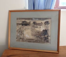 Gerald Cox original 1969 painting of France Lynch Gloustershire
