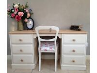 Solid Pine Twin Pedestal Dressing Table / Desk