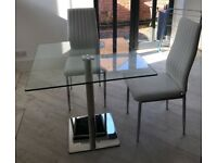 Glass Square Dining Table - Brand New