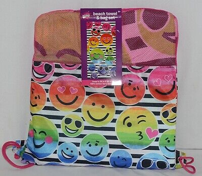 Three Cheers for Girls Brand 4754 Smiley Face Beach Towel Bag Set ()