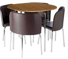 Hygena Amparo Oak Effect Dining Table & 4 Chairs - Chocolate (brand new and boxed)