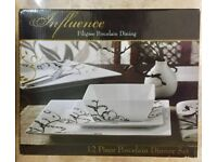 12 Piece Brand New Porcelain Dinner Set With Mugs