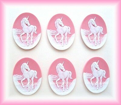 6 Unset WHITE UNICORN on Pale PINK 40mm x 30mm Costume Jewelry CAMEOS for Crafts](White Unicorn Costume)