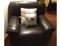 2 Matching Dark Brown Leather Armchairs, Used but good condition.