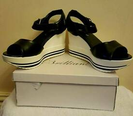black and white chunky wedge summer sandals