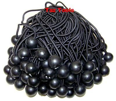 "100pcs 9"" Black Ball Bungee Bungie Cord Heavy Duty Canopy Tarp Tie Downs Straps"