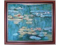 ****Oil painting Hand painting reproduction of Water Lilies of Monet - mahogany frame****