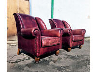 Pair of stunning Large Italian made tobacco distressed leather highback chairs DELIVERY AVAILABLE